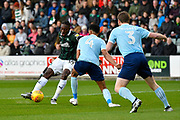 Freddie Ladapo (19) of Plymouth Argyle shoots at goal during the EFL Sky Bet League 1 match between Plymouth Argyle and Accrington Stanley at Home Park, Plymouth, England on 22 December 2018.