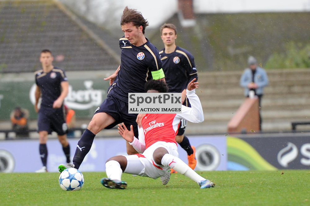 Arsenals Aaron Eyoma and Dinamo Zagrebs Ivan Sunjic in action during the Arsenal u19 v Dinamo Zagreb u19 clash on Tuesday 24th November 2015 in the UEFA Youth League at Borehamwood