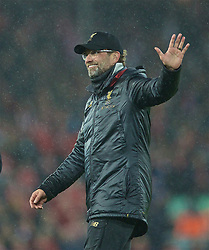 LIVERPOOL, ENGLAND - Friday, April 26, 2019: Liverpool's manager Jürgen Klopp celebrates after the FA Premier League match between Liverpool FC and Huddersfield Town AFC at Anfield. Liverpool won 5-0. (Pic by David Rawcliffe/Propaganda)