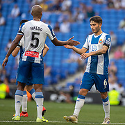 BARCELONA, SPAIN - August 18:  Naldo #5 of Espanyol and Lluis Lopez Marmol #6 of Espanyol during the Espanyol V  Sevilla FC, La Liga regular season match at RCDE Stadium on August 18th 2019 in Barcelona, Spain. (Photo by Tim Clayton/Corbis via Getty Images)