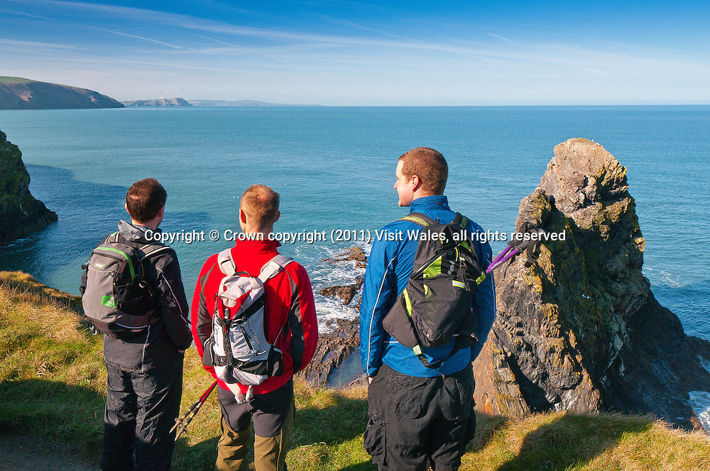 Three male walkers on Pembrokeshire / Wales Coast Path<br /> Ceibwr<br /> Pembrokeshire<br /> South<br /> Walking<br /> Activities and Sports