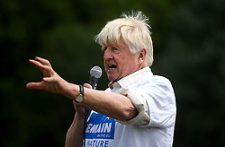 © Licensed to London News Pictures. 19/06/2016. London, UK. STANLEY JOHNSON, father of Boris Johnson speaking at 'The Big In' event at Hyde Park in London to promote an in vote at this week's EU membership referendum. Photo credit: Ben Cawthra/LNP