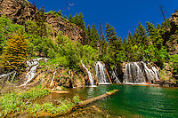 Huge waterfalls during runoff from snowmelt, Bridal Veil Falls, Hanging Lake, Glenwood Canyon, near Glenwood Springs, Colorado USA.