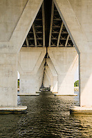 Rout 50 bridge supports over Kent Narrows waterway Chesapeake Bay Kent Narrows, Maryland, USA