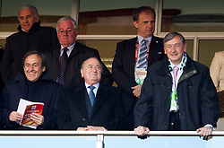 Michel François Platini of UEFA,  Rudi Zavrl of NZS, Sepp Blatter of FIFA, president of NZS Ivan Simic and President of Republic of Slovenia dr. Danilo Turk (R) during the 2010 FIFA World Cup South Africa Group C match between Slovenia and USA at Ellis Park Stadium on June 18, 2010 in Johannesberg, South Africa. (Photo by Vid Ponikvar / Sportida)