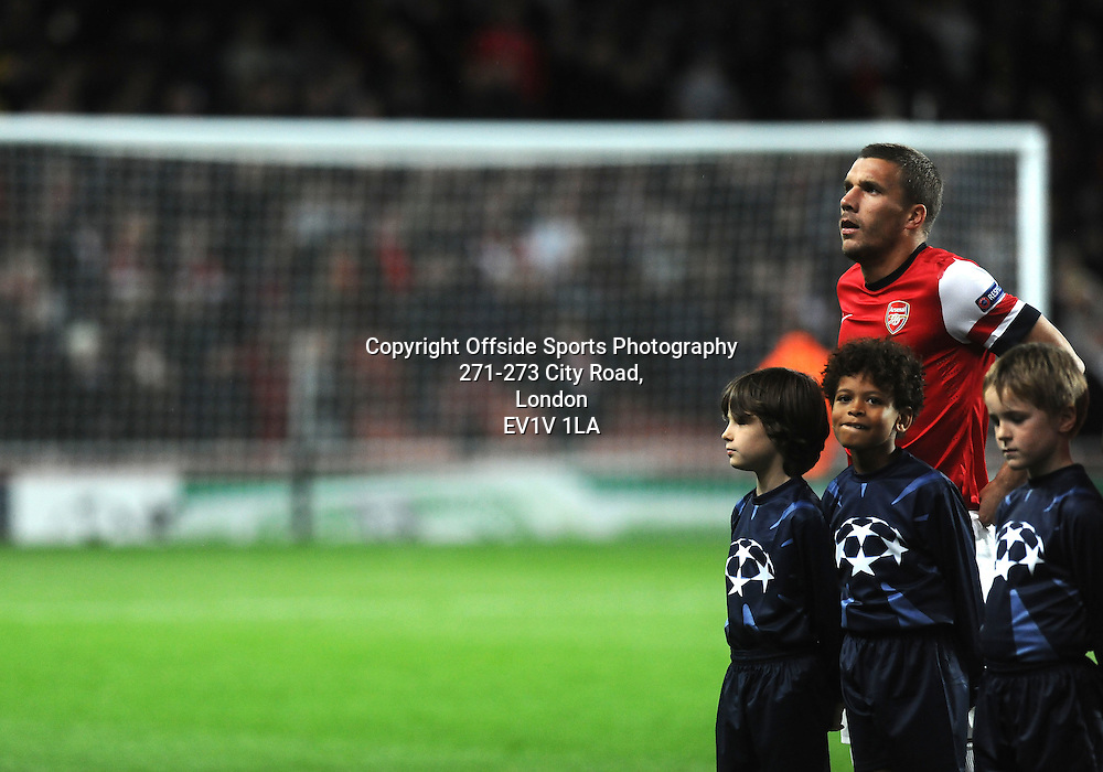 03/10/2012 - UEFA Champions League Football - Group Stage - 2012-2013 - Arsenal v Olympiacos - Arsenal's Lukas Podolski. - Photo: Charlie Crowhurst / Offside.