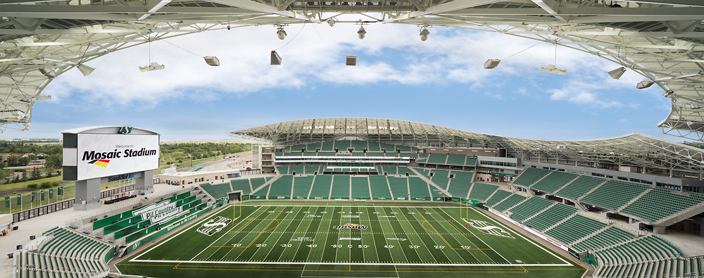 Photo of Mosaic Stadium, home of the Saskatchewan Roughriders, in Regina, Saskatchewan, Canada photographed by architectural photographer Brett Gilmour Photography.