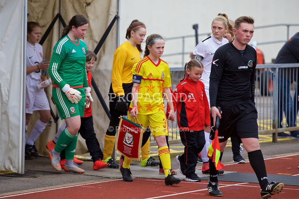 NEWPORT, WALES - Friday, April 1, 2016: Wales' captain Hayley Hoare leads her side out to face England on Day 1 of the Bob Docherty International Tournament 2016 at Dragon Park. (Pic by David Rawcliffe/Propaganda)