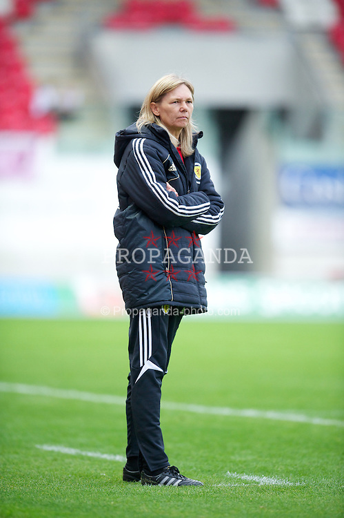 LLANELLI, WALES - Saturday, September 15, 2012: Scotland's manager Anna Signel during the UEFA Women's Euro 2013 Qualifying Group 4 match against Wales at Parc y Scarlets. (Pic by David Rawcliffe/Propaganda)