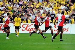 27-04-2008 VOETBAL: KNVB BEKERFINALE FEYENOORD - RODA JC: ROTTERDAM <br /> Feyenoord wint de KNVB beker - Jonathan de Guzman scoort de 2-0 en wordt bejubeld / Andre Bahia , Kevin Hofland en Giovanni van Bronckhorst<br /> ©2008-WWW.FOTOHOOGENDOORN.NL