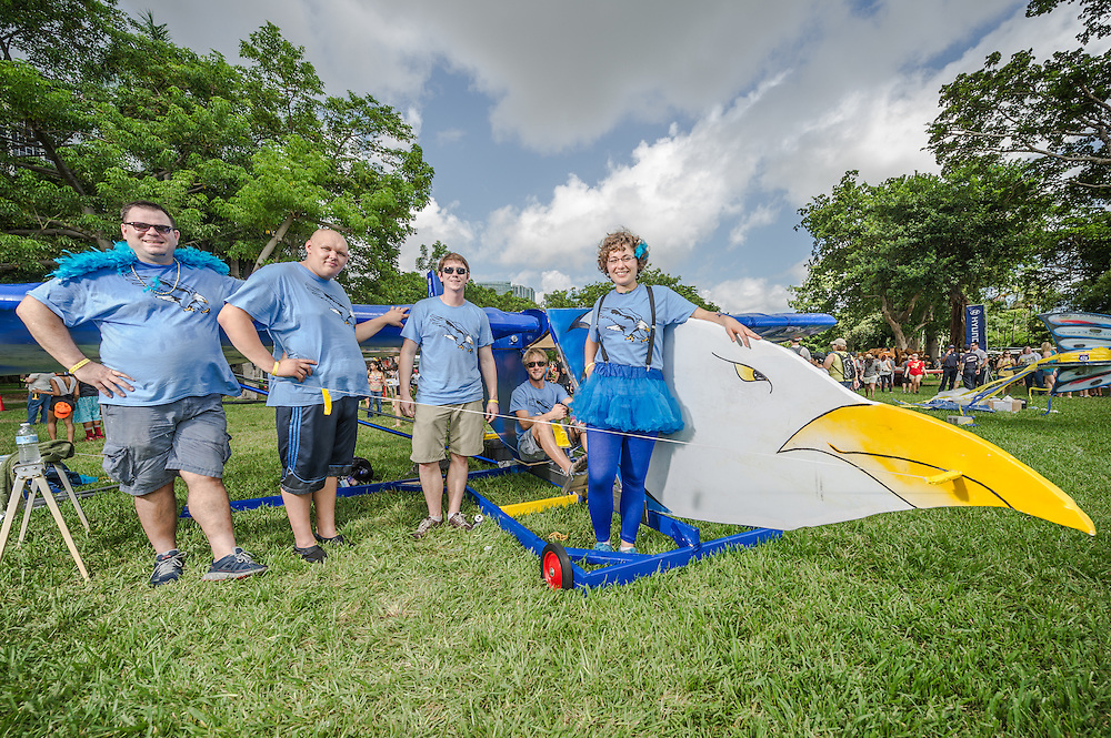 Blue Eagle Racers poses for a portrait at the Red Bull Flugtag in Miami, FL, USA, on 21 September 2013.