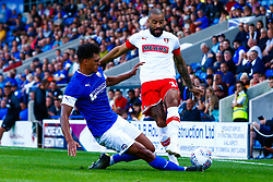Josef Yarney of Chesterfield slides in to tackle Kyle Vassell of Rotherham United - Mandatory by-line: Ryan Crockett/JMP - 20/07/2019 - FOOTBALL - Proact Stadium - Chesterfield, England - Chesterfield v Rotherham United - Pre-season friendly