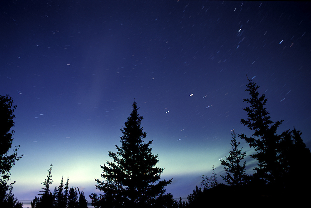 Aurora Borealis, stars, North America