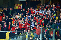 KIEV, UKRAINE - Easter Monday, March 28, 2016: Wales supporters sing the national anthem before the International Friendly match against Ukraine at the NSK Olimpiyskyi Stadium. (Pic by David Rawcliffe/Propaganda)