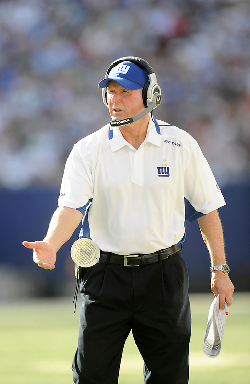 EAST RUTHERFORD, NJ - SEPTEMBER 13: Tom Coughlin head coach of the New York Giants looks on against the Washington Redskins during their game on September 13, 2009 at Giants Stadium in East Rutherford, New Jersey. (Photo by Rob Tringali) *** Local Caption *** Tom Coughlin
