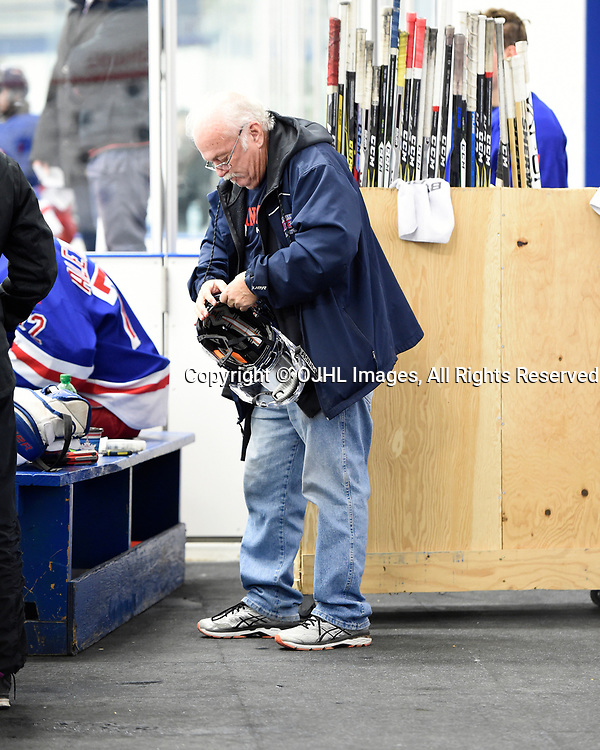 NORTH YORK, ON  - NOV 26,  2017: Ontario Junior Hockey League game between the North York Rangers and the Mississauga Chargers, Ian Davidson Equipment Manager of the North York Rangers during the first period.<br /> (Photo by Andy Corneau / OJHL Images)