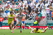 "Twickenham, Surrey United Kingdom. Englands,  Dan BIBBY get between the gap, during the Pool D game England vs Australia at the ""2017 HSBC London Rugby Sevens"",  Saturday 20/05/2017 RFU. Twickenham Stadium, England    <br /> <br /> [Mandatory Credit Peter SPURRIER/Intersport Images]"
