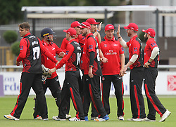 Cameron Steel (2nd R) of Durham Jets celebrates catching out Dane Vilas of Lancashire Lightning (Not Pictured) off the bowling of Ryan Pringle (L) - Mandatory by-line: Jack Phillips/JMP - 23/07/2017 - CRICKET - Emirates Old Trafford - Manchester, United Kingdom - Lancashire Lightning v Durham Jets - Natwest T20 Blast