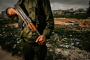A Palestinian security force soldier outside the Palestinian Authority Mukaatas in Ramallah in the West Bank.