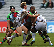 London - Saturday April 3rd, 2010: Ugo Monye of Harlequins is tackled by Gcobani Bobo (14) and Rob Vickerman (13) of Newcastle during the Guinness Premiership match between Harlequins and Newcastle at the Twickenham Stoop, London. (Pic by Andrew Tobin/Focus Images)