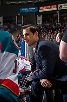 KELOWNA, CANADA - APRIL 14: Kelowna Rockets' assistant coach Travis Crickard stands on the bench against the Portland Winterhawks on April 14, 2017 at Prospera Place in Kelowna, British Columbia, Canada.  (Photo by Marissa Baecker/Shoot the Breeze)  *** Local Caption ***