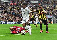 Football - 2018 / 2019 Emirates FA Cup - Semi-Final: Wolverhampton Wanderers vs. Watford<br /> <br /> Ivan Cavaleiro of Wolves rounds Watford goalkeeper, Heurelho Gomes put fails to score in the last minutes, at Wembley Stadium.<br /> <br /> COLORSPORT/ANDREW COWIE