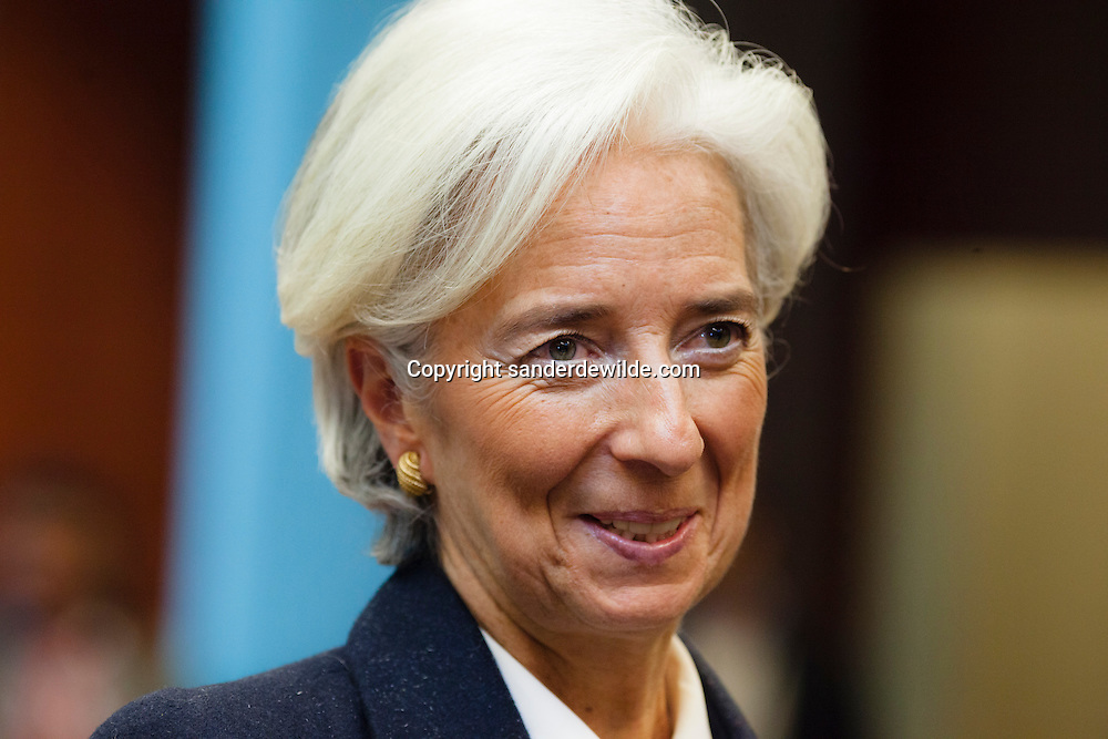 International Monetary Fund (IMF) Managing Director Christine Lagarde before an Eurogroup Council meeting on February 11, 2013 at the European Union Headquarters in Brussels. Dijsselbloem holds his first eurozone meeting today, with Cyprus and Greece on the agenda.