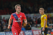 York City midfielder James Berrett celebrates his goal during the Sky Bet League 2 match between Newport County and York City at Rodney Parade, Newport, Wales on 5 September 2015. Photo by Simon Davies.