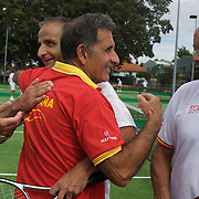 Jairo Velasco Ramirez (right) and Jorge Camina Borda, Spain, celebrate victory against USA  in the Von Cramm Cup Final during the 2009 ITF Super-Seniors World Team and Individual Championships at Perth, Western Australia, between 2-15th November, 2009.