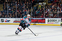 KELOWNA, CANADA - FEBRUARY 23: Liam Kindree #26 of the Kelowna Rockets skates with the puck against the Kamloops Blazers  on February 23, 2019 at Prospera Place in Kelowna, British Columbia, Canada.  (Photo by Marissa Baecker/Shoot the Breeze)