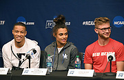 Trey Culver of Texas Tech (left), Sydney McLaughlin of Kentucky (center) and Josh Kerr of New Mexico during a press conference prior to the NCAA Track and Field Championships in College Station, Texas on Thursday, March 8, 2018.