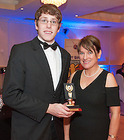 Outstanding Award for Contribution-GMIT student Colm Bushell Tuam presented by Ability West CEO Breda Crehan-Roche at the Ability West, Best Buddies ball at the Menlo Park Hotel, Galway. Photo:Andrew Downes Photography.
