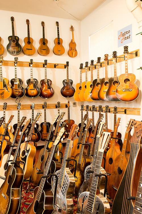 Vintage guitars for sale at Retrofret, in Brooklyn's Gowanus neighborhood.