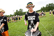 The Oregon Marching Band practices in Suttons Bay, Michigan on July 10, 2008.