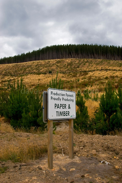 """Production Forests Proudly Producing Paper and Timber"" - Clearcut replanted with plantation forest, Fitzgerald, Tasmania. Sign by Forestry Tasmania"