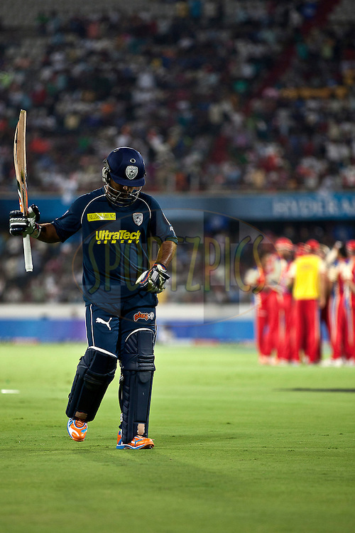 Sunny shows his disapointment of his out  during match 11 of the Indian Premier League ( IPL ) between the Deccan Chargers and the Royal Challengers Bangalore held at the Rajiv Gandhi International Cricket Stadium in Hyderabad on the 14th April 2011..Photo by Saikat Das/BCCI/SPORTZPICS