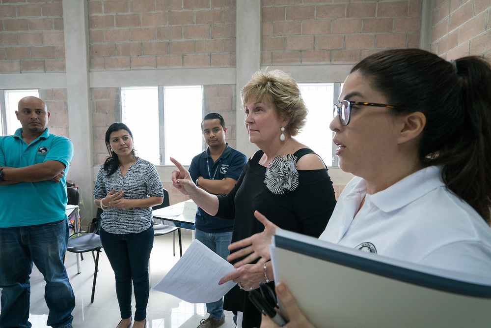Lynette Wood conducts a class at the Higher Learning Center in Santa Rosa de Copan, Copan, Honduras on Feb. 17, 2017. Photo Ken Cedeno