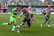 Forest Green Rovers Liam Shephard(2) runs forward  during the EFL Sky Bet League 2 match between Exeter City and Forest Green Rovers at St James' Park, Exeter, England on 27 October 2018.