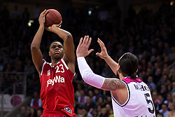 28.03.2016, Telekom Dome, Bonn, GER, Beko Basketball BL, Telekom Baskets Bonn vs FC Bayern Muenchen, 23. Runde, im Bild Vitalis Chikoko (FC Bayern Muenchen #23) beim Sprungwurf gegen Dirk Maedrich (Telekom Baskets Bonn #5) // during the Beko Basketball Bundes league 23th round match between Telekom Baskets Bonn and FC Bayern Munich at the Telekom Dome in Bonn, Germany on 2016/03/28. EXPA Pictures © 2016, PhotoCredit: EXPA/ Eibner-Pressefoto/ Schüler<br /> <br /> *****ATTENTION - OUT of GER*****