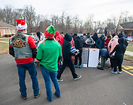 Debbie Kaelin (left) of Bensalem, and Gary Gifford of Bensalem chat with some children other members of the Delaware Valley Iron Indian Riders Association held their annual Ride Of the Santas and dropped off toys to children at  Saturday, December 21, 2019 at St Francis-St Vincent Home For Children in Bensalem, Pennsylvania. (Photo by William Thomas Cain / CAIN IMAGES)
