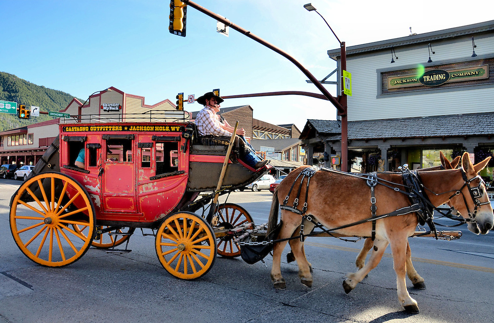 Stagecoach On Broadway Near Town Square in Jackson Hole, Wyoming<br />