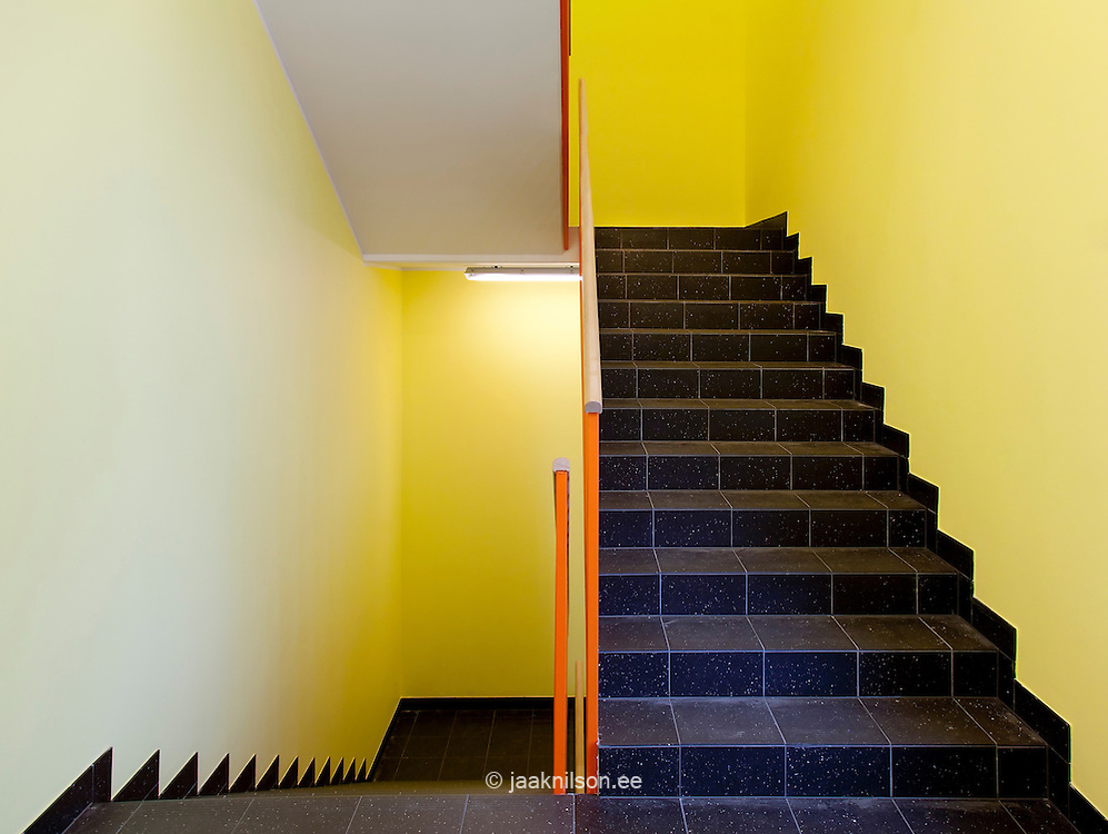 empty colorful stairwell