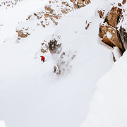 Griffin Post sticking every landing and fluidly making his way down Corbet's Couloir.
