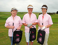 Joan Hannon, Marie McManus and Joan O'Gara from Roscommon Golf Club  at the Galway Golf Club for the AIB Ladies Irish Open Club Challenge qualifier..Photo:Andrew Downes
