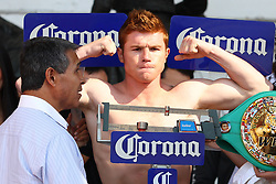 "November 26, 2011; Mexico City, Mexico; Saul ""Canelo"" Alvarez weigh's in for his 12 round bout against Kermit Cintron at the Plaza de Toros Bullring in Mexico City."