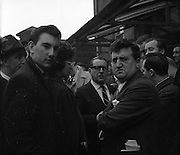17/02/1961 <br /> 02/17/1961<br /> 17 February 1961<br /> Brenden Behan (right) outside  the District Court, Dublin, having been charged with drunk and disorderly conduct.