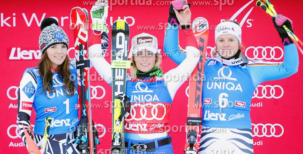 28.12.2015, Hochstein, Lienz, AUT, FIS Weltcup Ski Alpin, Lienz, Riesenslalom, Damen, Podium, im Bild Tina Weirather (LIE/ Platz 2), Siegerin Lara Gut (SUI) und Viktoria Rebensburg (GER/3.) // (L to R) Second placed Tina Weirather of Liechtenstein, winner Lara Gut of Switzerland and third placed Viktoria Rebensburg of Germany during Winner Award Ceremony of ladies Giant Slalom of the Lienz FIS Ski Alpine World Cup at the Hochstein in Lienz, Austria on 2015/12/28. EXPA Pictures © 2015, PhotoCredit: EXPA/ Erich Spiess