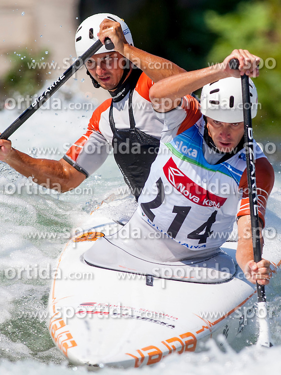 Ladislav Skantar and Peter Skantar of Slovakia during Canoe (C2) Man semi-final race at ICF Canoe Slalom World Cup Sloka 2013, on August 18, 2013, in Tacen, Ljubljana, Slovenia. (Photo by Urban Urbanc / Sportida.com)