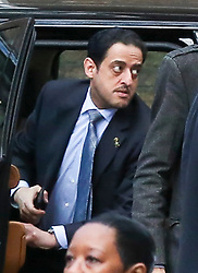 **live news rates apply**<br /> © Licensed to London News Pictures. File picture dated 07/03/2018. London, UK. A man believed to be Maher Abdulaziz Mutreb (centre), a bodyguard suspected in the murder of  Saudi Arabian journalist Jamal Khashoggi, pictured on Downing Street as part of the Entourage of Saudi Crown Prince Mohammed bin Salman. British Prime Minister Theresa May meet Saudi Crown Prince Mohammed bin Salman at No.10 Downing during a state visit. Photo credit: Dinendra Haria/LNP