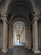 Entrance corridor on the North face of the Louvre Museum in Paris